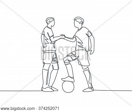 Continuous Line Drawing Of Two Football Player And Handshaking To Show Sportsmanship Before Starting