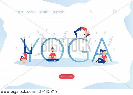 Yoga Landing Page Template, Young Woman Practicing Various Asana Poses, Yoga School Studio, Online Y