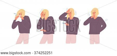 Set Of Unwell Woman With Influenza Symptoms Vector Flat Illustration. Female With Headache And Body