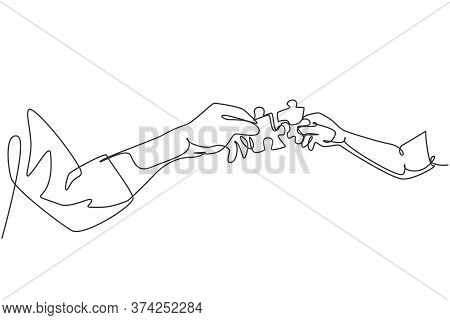 One Line Drawing Of Two Hands Holding Puzzle Pieces And Want To Merge Together. Father Or Mother And