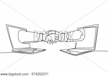 Continuous Line Drawing Of Business Men Shaking Hand To Deal A Project. Hand Come Out From Laptop Sc