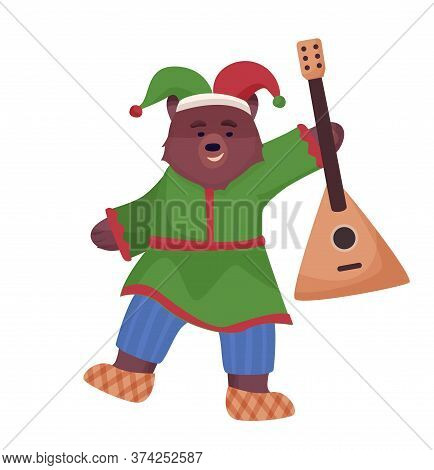 The Animal Character Is Brown, A Bear In The National Costume Of Russia And Bast Shoes Is Dancing Wi