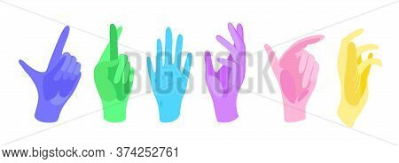 Vector Hand And Gloves, Flat Design.medical Latex Glove In Various Hand Poses. Flat Vector Illustrat