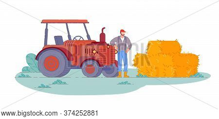 Tractor Operator. Isolated Farm Field Tractor Operator Farmer Man Making Hay Harvest Bales. Vector C