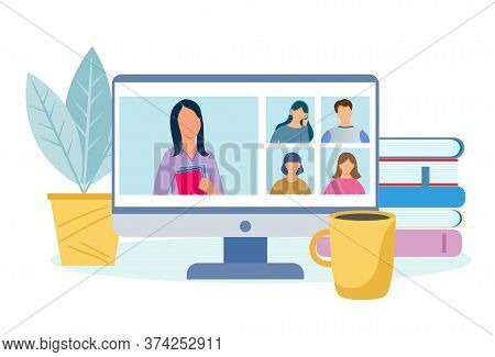 Video Conference - Vector Illustration On The Theme Of Online Video Communication, Online Training A