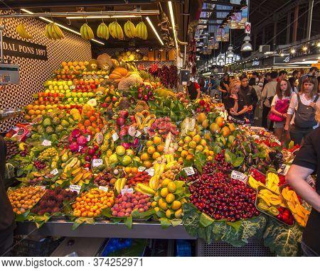 Boqueria Market On La Rambla Street, Barcelona, Spain - June 2019