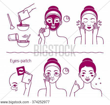 Face Skin Beauty Set. Isolated Woman Preparing And Applying Facial Mask Cosmetic And Eyes Patch To S