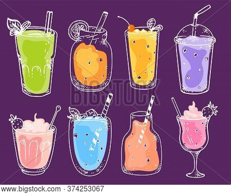 Delicious Smoothie Set. Blended Vegan Fruit Cocktail Refreshments In Glasses. Isolated Drink For Die