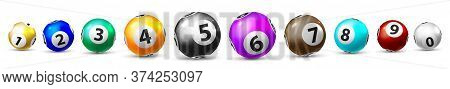 Bingo Game Balls. Isolated Ten Lottery Ball Icon Set For Leisure Lottery Sport Game. Realistic Shiny