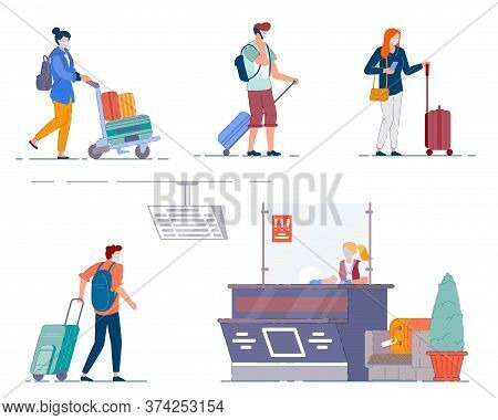Airport Terminal People. Men And Women Tourists Carrying Luggage Bags And Suitcases During Coronavir
