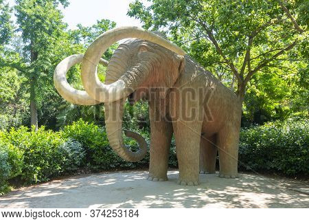 Mammoth Statue In Ciutadella Park, Barcelona, Spain