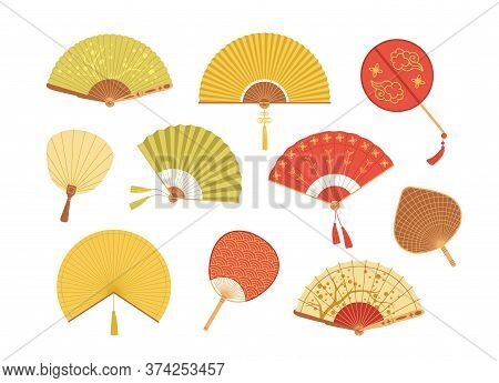 Set Of Asian Paper And Textile Fans Vector Illustration. Collection Of Colorful Realistic Japan And