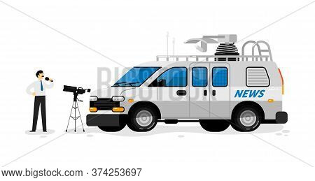 Broadcast Van. Isolated Broadcasting Communication Transport. Television Channel Van Auto Vehicle Wi