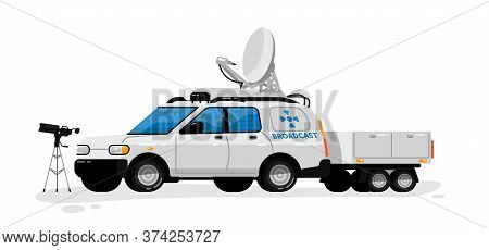Broadcast Technology. Isolated Media Broadcasting Communication Transport, Video Camera. Television