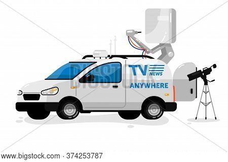 Broadcasting Equipment. Isolated Professional Broadcasting Communication Transport, Video Camera. Te