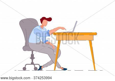 Bored Worker. Isolated Bored Lazy Business Man Worker Cartoon Character Working And Typing Lazily On