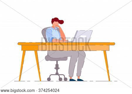 Bored Office Worker. Isolated Bored Business Man Cartoon Character Working Lazily On Laptop Computer