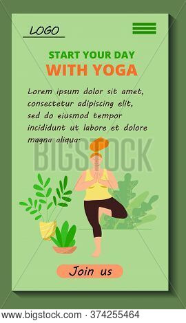 Mobile Application Start Your Day With Yoga. Body Positive Girl Doing Asana. Stock Vector Flat Moder