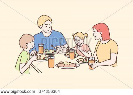 Family, Meal, Recreation, Leisure, Dinner, Fatherhood, Motherhood, Childhood Concept. Man Dad Woman