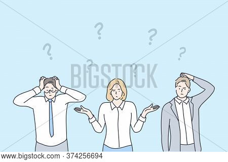 Business, Problem, Thinking, Brainstorming Set Concept. Group Team Of Confused Thoughtful Pensive Bu