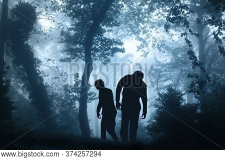 Two zombies in mysterious landscape of foggy forest. Halloween scene with walking dead's. Zombie apocalypse. 3d render