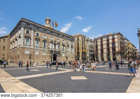 Saint James Square (placa De Sant Jaume) In Center Of Gothic Quarter, Barcelona, Spain - June 2019