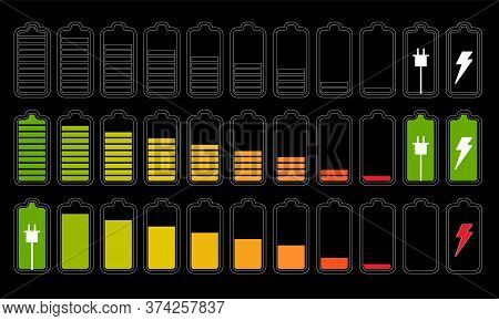 Battery Set. Battery Energy Status Or Charge Power Level Icon Set Isolated On Dark Background. Full,