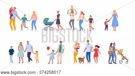 Walking Family Set. Happy Family On Walk Set Isolated On White Background. Collection Of Mother, Fat