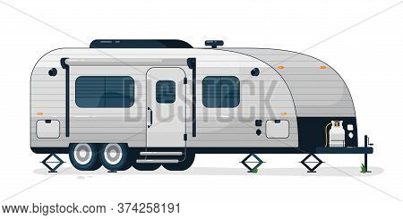 Camping Trailer. Isolated Camper Vehicle Mobile Home Trailer With Windows, Door And Gas Bottle. Vect