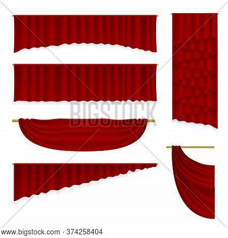 Stage Curtains Set. Isolated Vector Realistic Velvet Textile Decoration Pelmet Drapery Design Collec