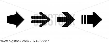 Black Right Arrows Set. Flat Icon Isolated On White. Continue Icon.