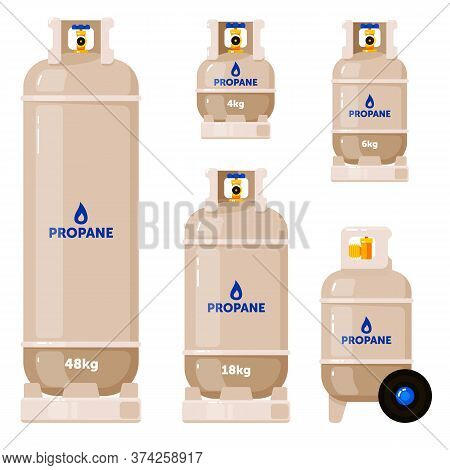 Gas Cylinder. Propane Gas Cylinder Tank Set Isolated On White Background. Vector Cylindrical Contain