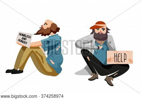 Miserable Pauper Set. Poor Beggar, Miserable Pauper Sitting Isolate On White Background. Street Hung