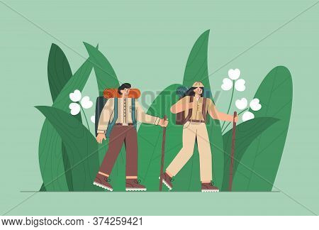 Travelers In The Jungle. People, Man And Woman Enjoy Large Green Leaves. Concept Of Discovery, Explo