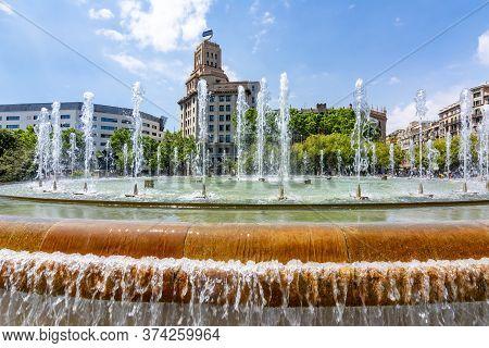Catalonia Square (placa De Catalunya) Fountain, Center Of Barcelona, Spain