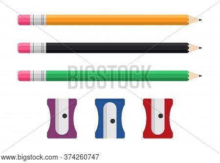 Pencil And Sharpener Set Isolated On White Background, Vector Illustration