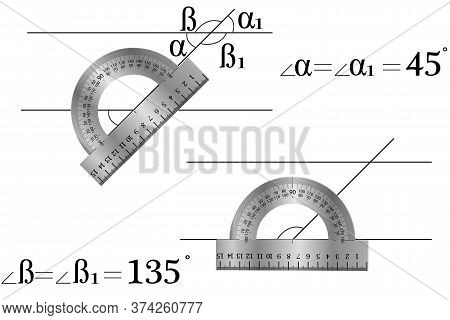 Studying A Mathematical Topic - Vertical Angles, Two Parallel Lines Intersect The Third, Vertical An