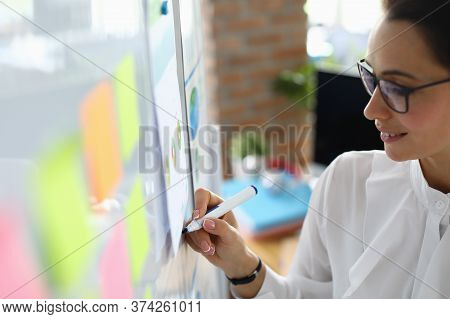 Portrait Of Young Smart Woman Writing On Board. Business Charts And Diagrams On Wall. Business Meeti