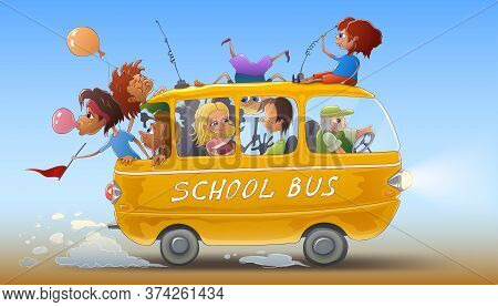 A Yellow School Bus With Children Goes Back To School For Lessons After The Summer Holidays. The Dri