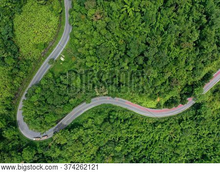 Road winding through forest from aerial drone
