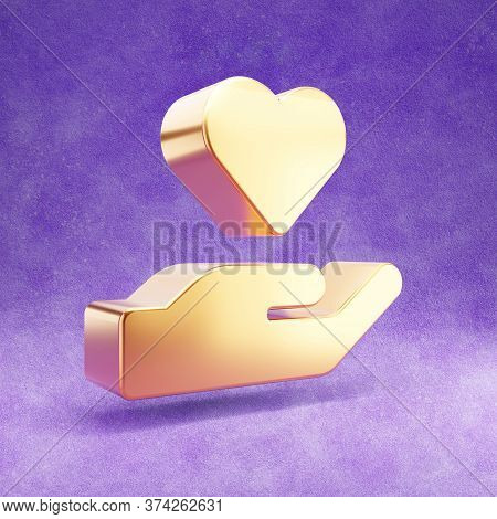 Hand Holding Heart Icon. Gold Glossy Hand With Heart Symbol Isolated On Violet Velvet Background. Mo