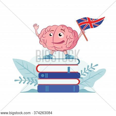 Brain Character With The English Flag Is On The Book. Studiing English Language. Vector Icon, Illust