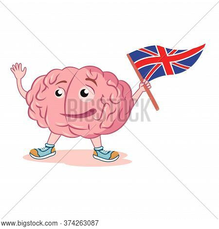 Brain With The English Flag. Study English Language. Character For The Logo Of English Language Cour