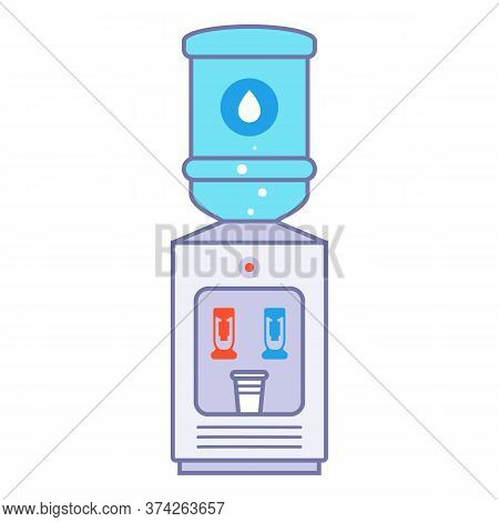 Office Water Cooler On A White Background. Flat Vector Illustration.