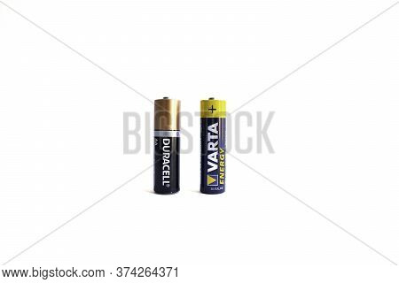 Kiev, Urkaine, 18 June 2020, Varta Aa Alkaline Battery And Duracell Aa Alkaline Battery Are On White