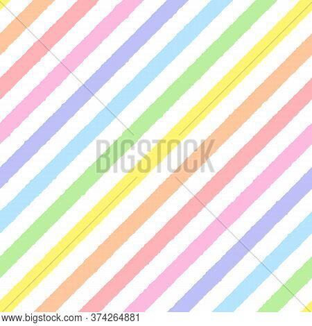 Rainbow Seamless Diagonal Striped Pattern, Vector Illustration. Seamless Pattern With Rough Pastel C
