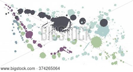 Watercolor Paint Stains Grunge Background Vector. Funky Ink Splatter, Spray Blots, Mud Spot Elements