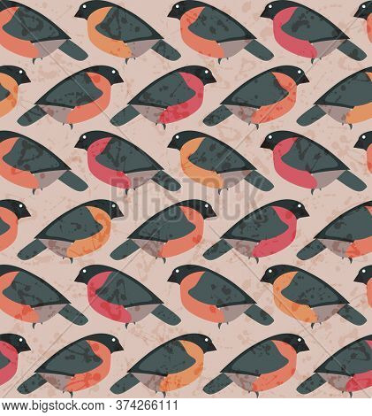 Stylized seamless beige pattern with red bullfinches