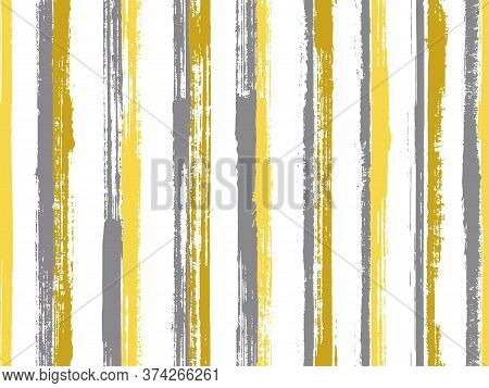 Ink Freehand Rough Stripes Vector Seamless Pattern. Artistic Candy Wrap  Sweet Design. Vintage Geome