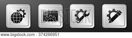 Set Globe Of The Earth And Gear, Browser Setting, Wrench Spanner And Gear And Pencil And Gear Icon.